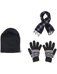 09d52d9f593 Devil Women s Combo Of Winter Woollen Black Cap With Muffler And Gloves(Free  size)
