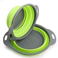 Sieb Klappbar, Faltbare Abtropfsieb, 2 Stück Silikon Sieb Faltbare Seiher Küche Ordnung Nudelsieb By OYSHOPP (Grün)