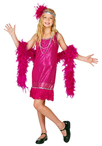Kostüm Flapper Girl Fringe - Child Fuchsia Sequin and Fringe Flapper Fancy dress costume Medium