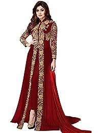 5b4a909d3 Home Women Georgette Long Anarkali Salwar Suit Gown With Dupatta