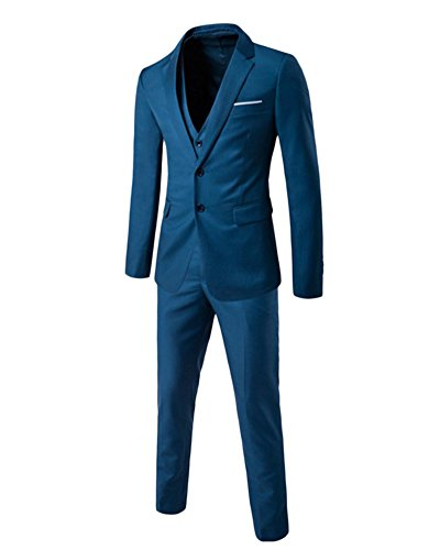 Herren Anzug 3-Teilig Slim Fit Anzugsjacke Anzugsweste Anzugshose ein knopf Hochzeit Party Sea Blau L