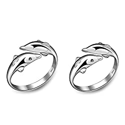 19 Likes Silver Metal Couple Ring For Women & Men,Alrg0365Sl