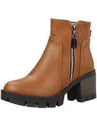 AgeeMi Shoes Mujer Cremallera Tacón Medio Puntera Cerrada Cremallera Botas