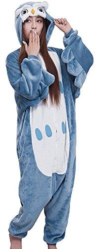 Honeystore Unisex Erwachsene Tier Siamesische Kleidung Pyjamas Owl Jumpsuit Kostüme Freizeitkleidung Eule ohne Schuhe