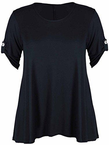 Sparkle, 3/4-Ärmel T-shirt (Purple Hanger - T-Shirt Top Damen Übergröße Elastisch Runder Ausschnitt Geknöpft 3/4 Ärmel - Schwarz, 54-56)