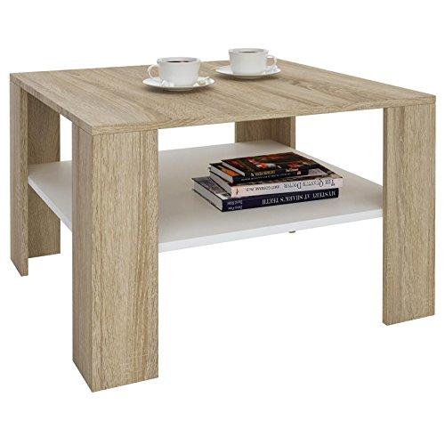 IDIMEX Table Basse SEJOUR, Table de Salon de Forme carrée avec 1 étagère Espace de Rangement Ouvert, en mélaminé décor chêne Sonoma et Blanc Mat