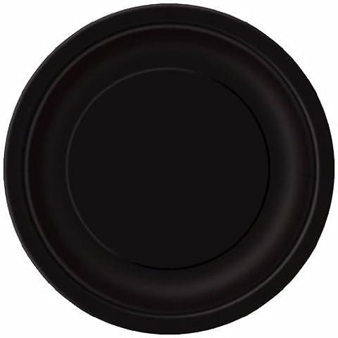 Unique Party - 32080 - Paquet de 16 Assiettes en Carton - 21,9 cm - Noir