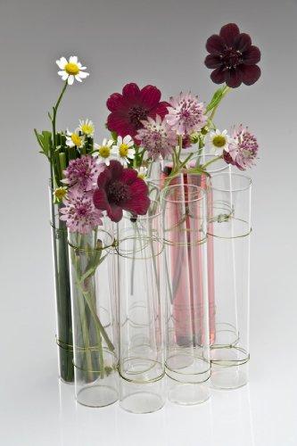 Glasvase TEST TUBE, Vase Glas Blumenvase Tischvase Reagenzglas, 14 cm, 6er Set