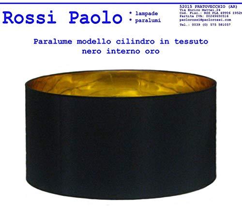 Lampenschirm in schwarzem Stoff mit Gold Interieur - eigene Produktion - made in Italy (Zylinder, cm 50) -