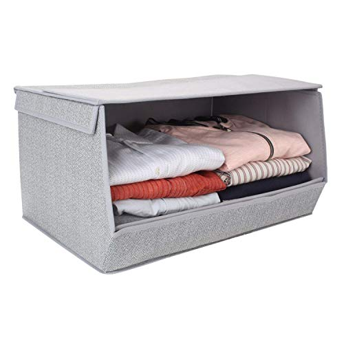 HomeStorie Non-Woven Fabric Storage Organizer Box with Lid, Large, 50 x 35 x 25 cm