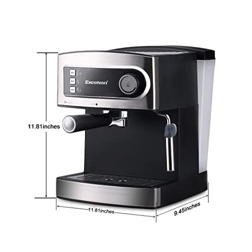 Excelvan 15 Bar Pump Espresso Coffee Maker, Italian Style Coffee Machine with Steam Wand, Measuring Spoon for Hot Drinks, Cappuccino & Home – Coffee Maker 850W
