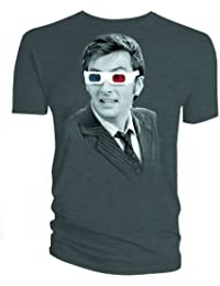 Doctor Who Tenth Doctor 3D Glasses Charcoal T-Shirt | XXL