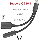 Support iOS 10.3 or Later - Lightning to 3.5mm Audio Adapter, Betteck 2A 2 in 1 Lightning Charger and 3.5mm Earphones Jack Cable for Apple iPhone 7 7 Plus 6S 6 iPod iPad- Black