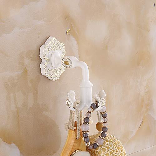 Gu3Je Einzelhaken Badgarderobe Doppelhaken Frei gestanzter Wandhaken Antikaluminium (Mehrfarbig optional) Weiß