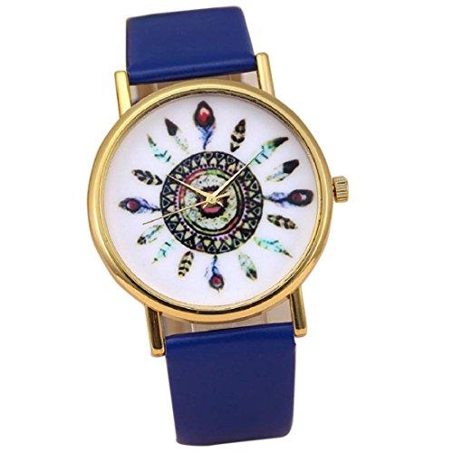 Tongshi Mujeres pluma de la manera de la vendimia del dial banda de cuero análogos del cuarzo relojes de pulsera (azul)