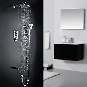 homelody unterputz duschsystem mit lcd wassertemperaturzeit display duscharmatur regendusche 3 funktion dusche duschset shower inkl kopfbrause handbrause - Regenwalddusche Unterputz