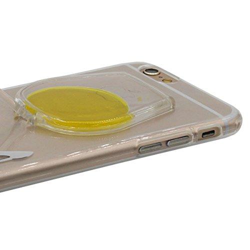 """Custodia Cover per iPhone 6 Plus / 6S Plus 5.5"""", Titolare Funzione, Mini-Tazza del Vino Modellismo Galleggiante Liquido Serie Colore Vari scegliere, Sottile / Trasparente Case Cover Giallo"""