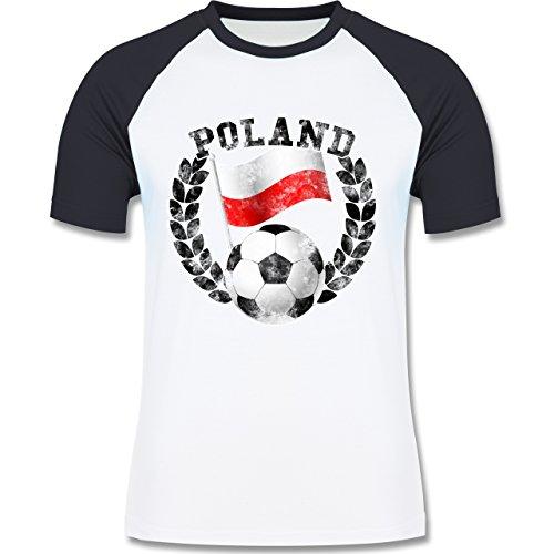 EM 2016 - Frankreich - Poland Flagge & Fußball Vintage - zweifarbiges Baseballshirt für Männer Weiß/Navy Blau