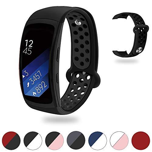 Tosenpo für Samsung Gear Fit2 / Gear Fit 2 Pro Armband, Ersatz Silikon Armband Armband Uhrenarmband für Gear Fit 2 Pro SM-R365 / Gear Fit2 SM-R360 Smartwatch (Schwarz-01, Standard)