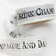 """Lovely Tape - Nastro vintage con la scritta """"Time to Drink Champagne"""" e """"Dance on the Table"""", 10 cm"""