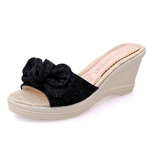 Schwarze Sandalen Aus Leder-multi (Fuibo Elegant Sandalette Damen Sommer Bogen Plattform Wasserdichte Sandalen Keil Frauen Hausschuhe (41, Schwarz))
