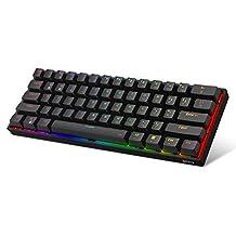 DK61E 60% mechanisch gamingtoetsenbord, RGB-achtergrondverlichting Bekabeld PBT Keycap Waterdicht Type-C Hot-swappable Compact 61-toetsen Computertoetsenbord(Gateron optische zwarte schakelaar)