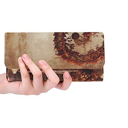 Einzigartige Custom Herbstliche Märchenlandschaft Bank Lampe Große Frauen Trifold Brieftasche Lange Geldbörse Kreditkarteninhaber Fall Handtasche -