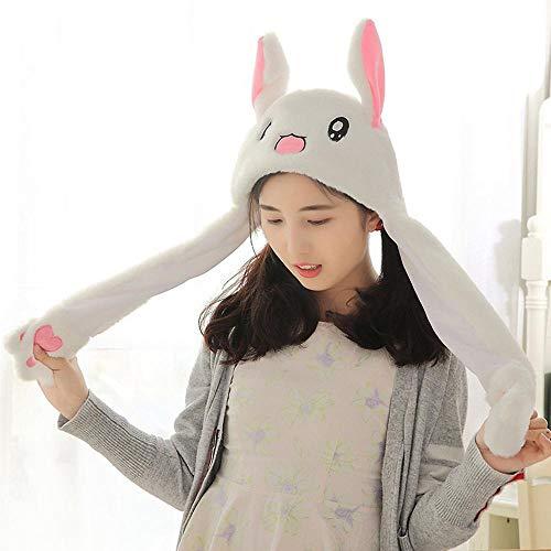 Kostüm Ohren Stirnband - KOBWA Unisex lustige Hasenohren-Hut mit beweglichen Ohren, Plüsch Hasenohren, Stirnband, Spielzeug, Kostüm, Cosplay, Kaninchen, tolles Geschenk für Kinder und Erwachsene