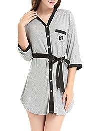 97e965e1f8669a Damen 3/4 Lang Nachthemd Knopfleiste Nachtkleid Negligee Sleepshirt mit  Gürtel by NORA TWIPS