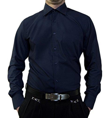 Designer Herren Hemd Dunkel Blau Bügelfrei klassischer Kragen Herrenhemd Kentkragen Langarm Größe XL 44 (Hemd Kragen-größe)