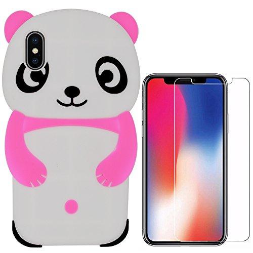 Hcheg 3in1 set di accessori: Apple iPhone X a doppio strato ibrido Cell Phone Case(#2) Custodia protettiva Resistenza goccia telefono mobile con il basamento (nero) + 1 x Protezione dello schermo di v panda-red