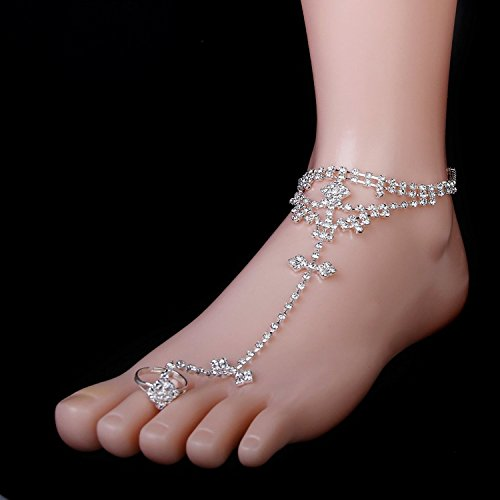 maltonyo17Zehenring weiß Strass Armband Fußkettchen für Barfuß Sandale Strand Brautschmuck Hochzeit (Silber)