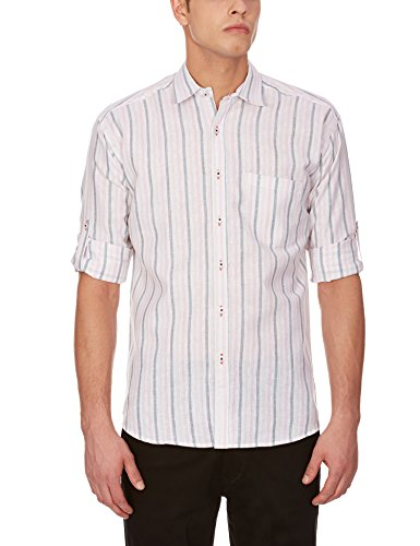 Blue Fire Men's Striped Full Sleeve Slim Fit Poly Cotton Casual Shirt (BF10040144)  available at amazon for Rs.349