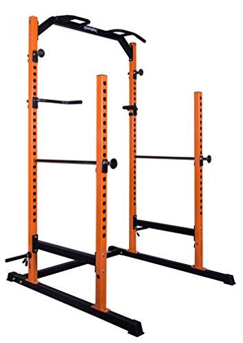 SportPlus Power Rack mit Klimmzug-Station, Dip-Station, Langhantelablage, Haltevorrichtungen zur Ablage von Gewichtsscheiben, stabile und massive Stahlrohrkonstruktion, Power Cage, Sicherheit geprüft (Squat Rack-cage)
