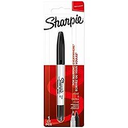 Sharpie rotulador permanente de doble punta, puntas fina y ultrafina, negro, paquete de 1
