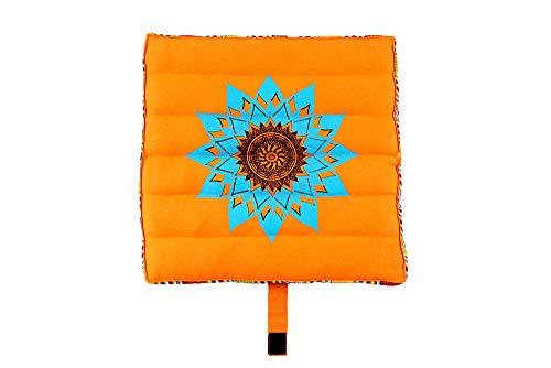 Olleeno Yogakissen Meditationskissen Sitzkissen Nacken Kissen 100% Baumwolle gefüllt zum Reisen - zusammen faltbar