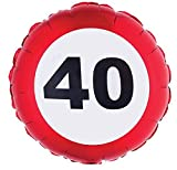 Folienballon 40. Geburtstag Verkehrsschild 45cm
