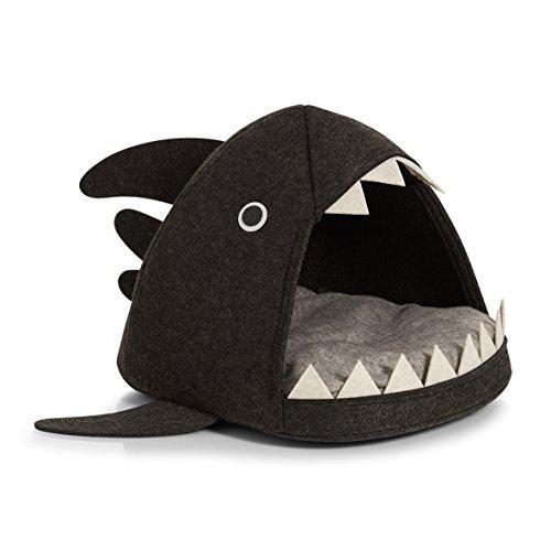 Zeller 14375chat de Panier, feutre Chats de requin Panier, feutre, Anthracite, 45x 38x 32cm