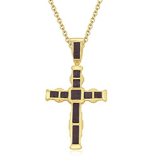 silvernshine Jewels HIS Ihr 14K Gelb Gold FN rot Granat CZ Diamanten Micro pave Kreuz Anhänger Halskette