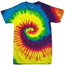 Colortone Femme Rainbow Tie Dye Top à Manches Courtes T-Shirt - - Large