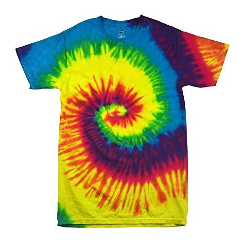 Hippie Tie Kostüm Dye - Colortone - Unisex Batik T-Shirt 'Rainbow' / Rainbow, XL