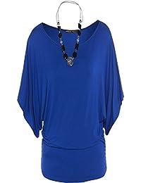 Frauen Plus Size-Flügel-Hülsen-Halsketten-Tops mit Kimono-Ärmeln Tops 44-54