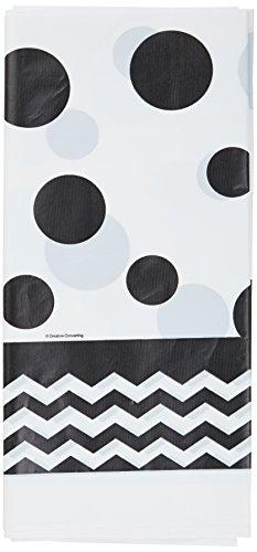 onverting 720060Chevron & Polka Dots Feiern Tischdecke aus Kunststoff, 54von 274,3cm schwarz Samt ()