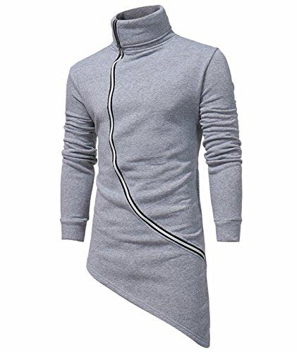 Idol Herren Unregelmäßiger Saum Hip Hop Zipper Rollkragen Oberbekleidung Jacke (Lambswool Angora)