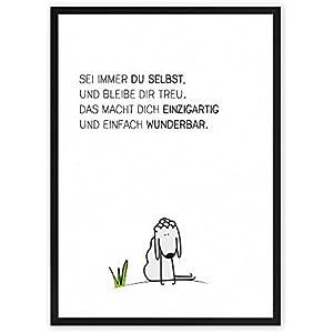 Du-bist-wunderbar-Schäfchen - Sei immer du selbst... - einzigartiger Kunstdruck mit Spruch auf wunderbarem Hahnemühle Papier DIN A4 (optional A3 und A2) -ohne Rahmen- schwarz-weißes Wand-Bild Poster Fine-Art-Print zur Dekoration im Büro und Zuhause oder als Geschenk-Idee zum Geburtstag Hochzeit Umzug Einzug für Freundin Freunde Mutter Familie... Home Deko - Lebensweisheit Regeln für Zufriedenheit & Glück mit Illustration
