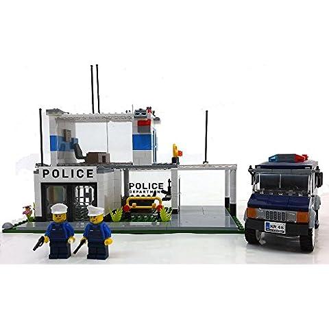 Modbrix 1574 - Bausteine Polizei Station mit Einsatzfahrzeug ink. Custom Deutsche Polizei Minifiguren aus original Lego©