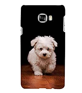 FUSON Pretty White Dog Walking 3D Hard Polycarbonate Designer Back Case Cover for Samsung Galaxy C7 SM-C7000