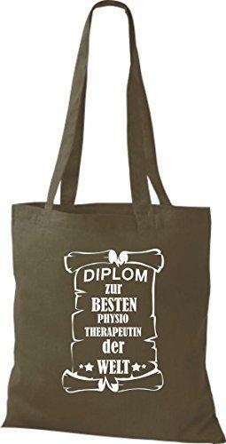 shirtstown Borsa di stoffa DIPLOM A MIGLIOR physiotherapeutin DEL MONDO Oliva