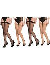 Neska Moda Women's Net Thigh Highs Long Stockings (STK1andSTK2-2, Black And Skin, Free Size) - 4 Pair