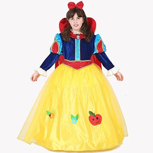 Vestito costume maschera di carnevale bambina - biancaneve lusso - taglia 5/6 anni - 99 cm
